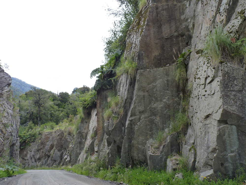 Steep rocky roadside