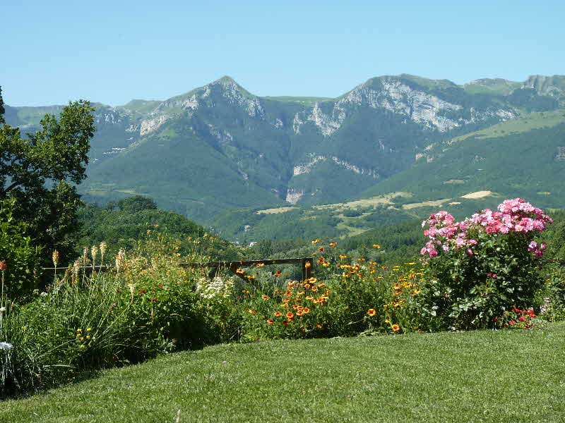 The view of the Sibillini Mountains from Casa Carotondo in Le Marche, Italy